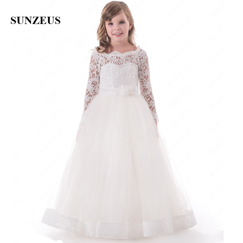 Long Sleeve A-Line Flower Girl Dresses for Weddings Scoop Lace Formal Dresses Tulle Holy Communion Dresses S1501