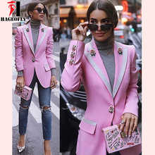 HAGEOFLY High Quality Fashion 2018 Designer Blazer Women Long Sleeve Floral Lining Rose Buttons Pink Blazers Outer Jacket Female - DISCOUNT ITEM  23% OFF All Category