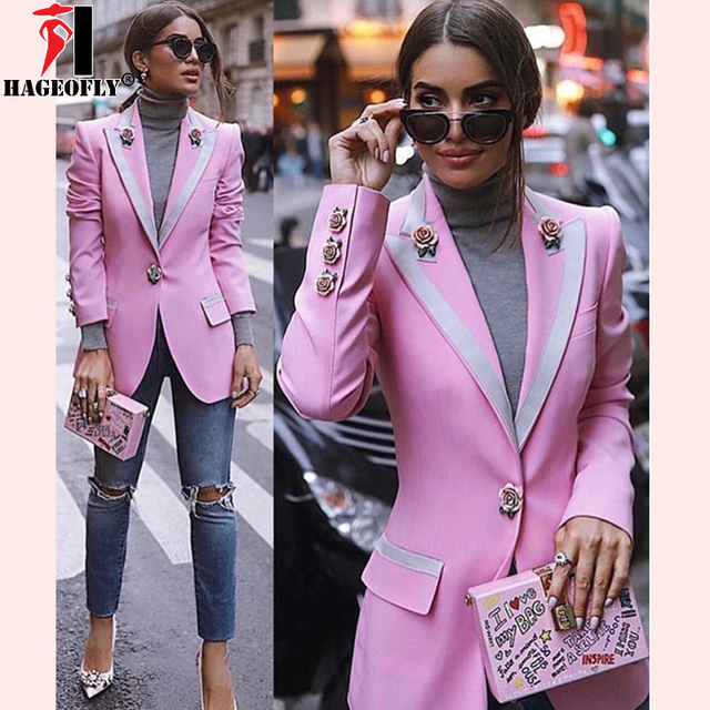 Hageofly High Quality Fashion 2018 Designer Blazer Women Long Sleeve Floral Lining Rose Buttons Pink Blazers Outer Jacket Female by Hageofly