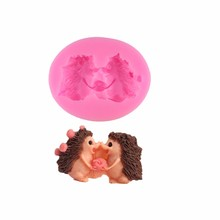 Fondant molds  DIY chocolate mould hedgehog, double sugar cake decorating tools The clay silicone mold Baking m