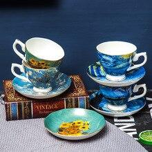 Nice Van Gogh Famous Oil Painting Design Bone China Coffee Cup Saucer Sets Sunflower Starry Night Art Tea Glass Tasse Cafe Tazas