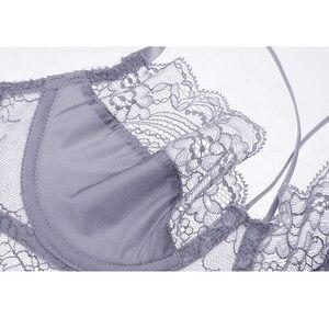 Image 2 - Комплект женского кружевного нижнего белья из бюстгальтера и трусиков с чашкой 3/4