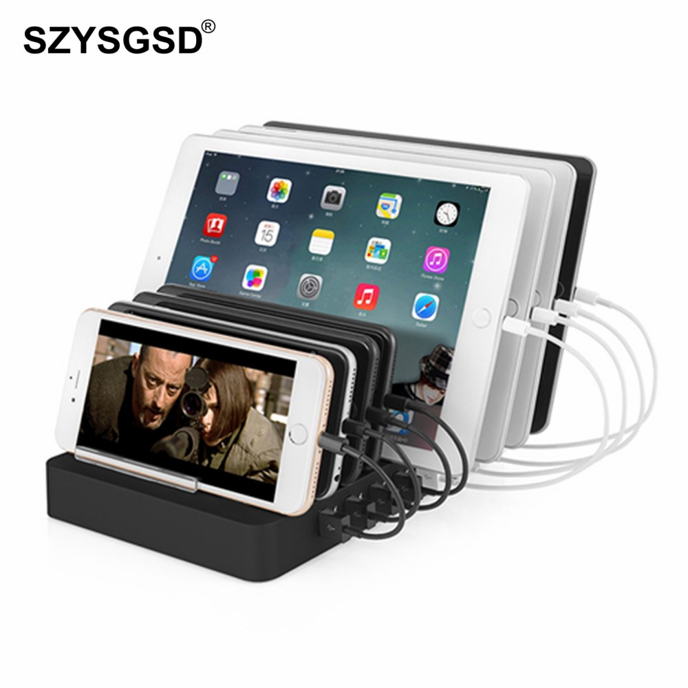 SZYSGSD Multi Port USB Charger 96W 8 Phone Holder Charging Station For iPhone ipad For Samsung Huawei Xiaomi Stand AC AdapterSZYSGSD Multi Port USB Charger 96W 8 Phone Holder Charging Station For iPhone ipad For Samsung Huawei Xiaomi Stand AC Adapter