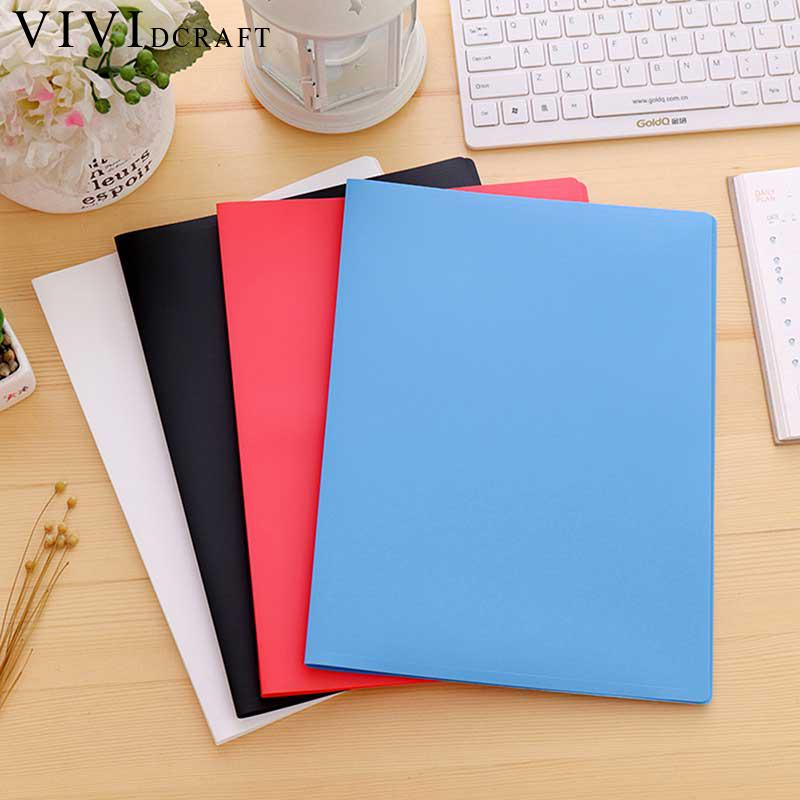 Vividcraft Korea Stationery Item File Folder A4 Thicken Document Organizer Pasta Escolar Transparent Document Bag Menu Booklet deli a3 data document presentation folder 297 420mm 60 40 page transparent folder vertical insert document booklet