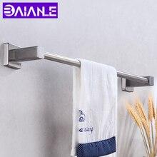 цена на Bathroom Towel Holder Stainless Steel Single Towel Bar Wall Mounted Towel Hanger Rack Corner Restroom Accessories Clothes Rail