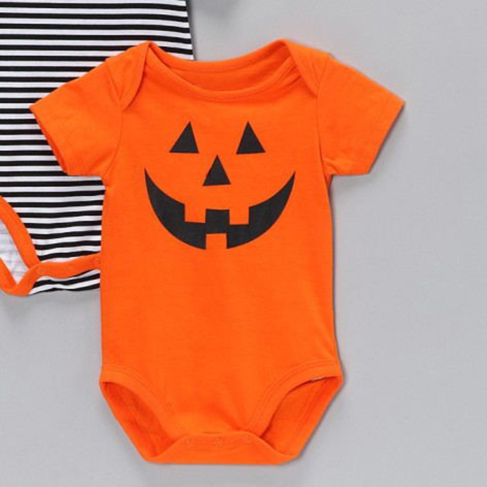 f067c936c7b 1 PC Orange Color 2018 Fashion Kids Infant Baby Boys Girls Hallowmas Long  Sleeve Rompers Grimace Short Sleeve Romper Clothes-in Rompers from Mother    Kids ...