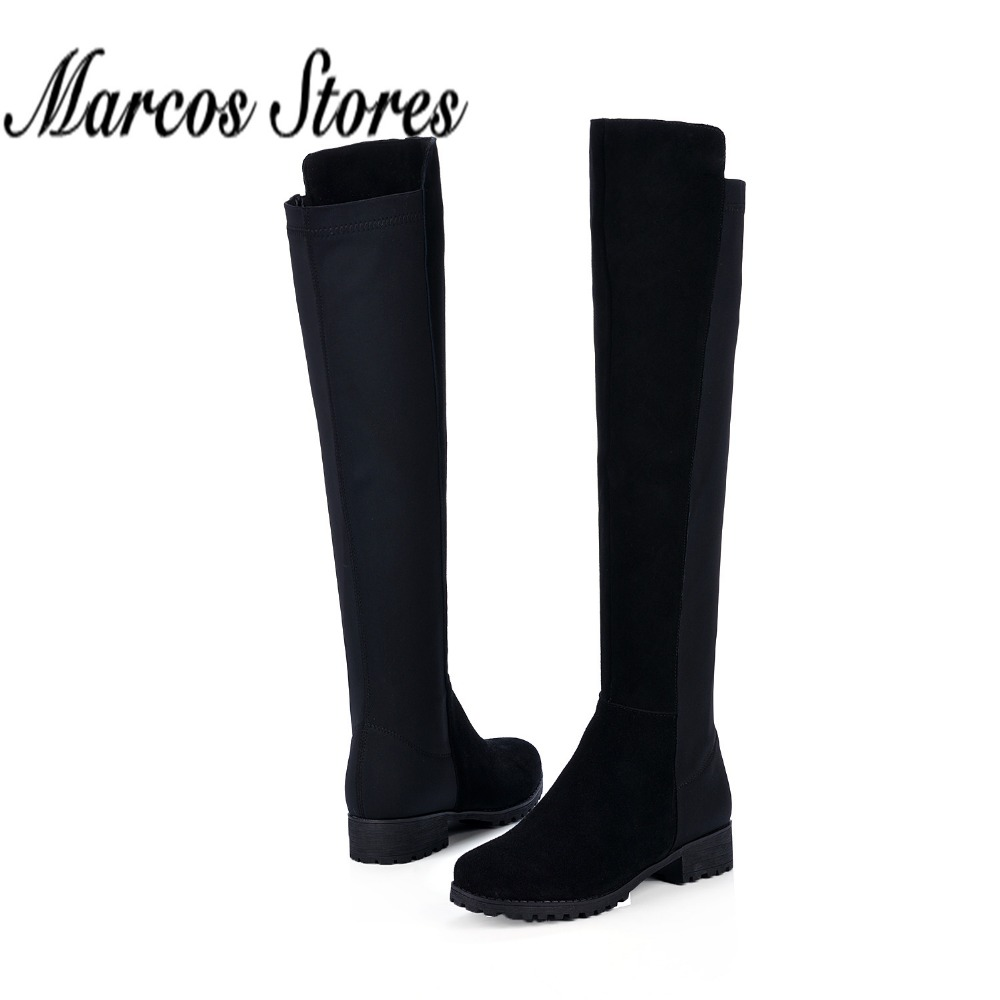 Thigh High Low Heel Boots - Cr Boot