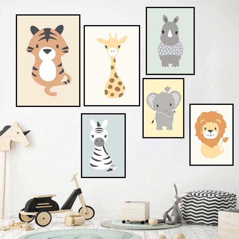 Woodland Animal Zebra Posters Nursery Prints Wall Art Canvas Painting Nordic Picture for Baby Kids Room Decoration No Frame