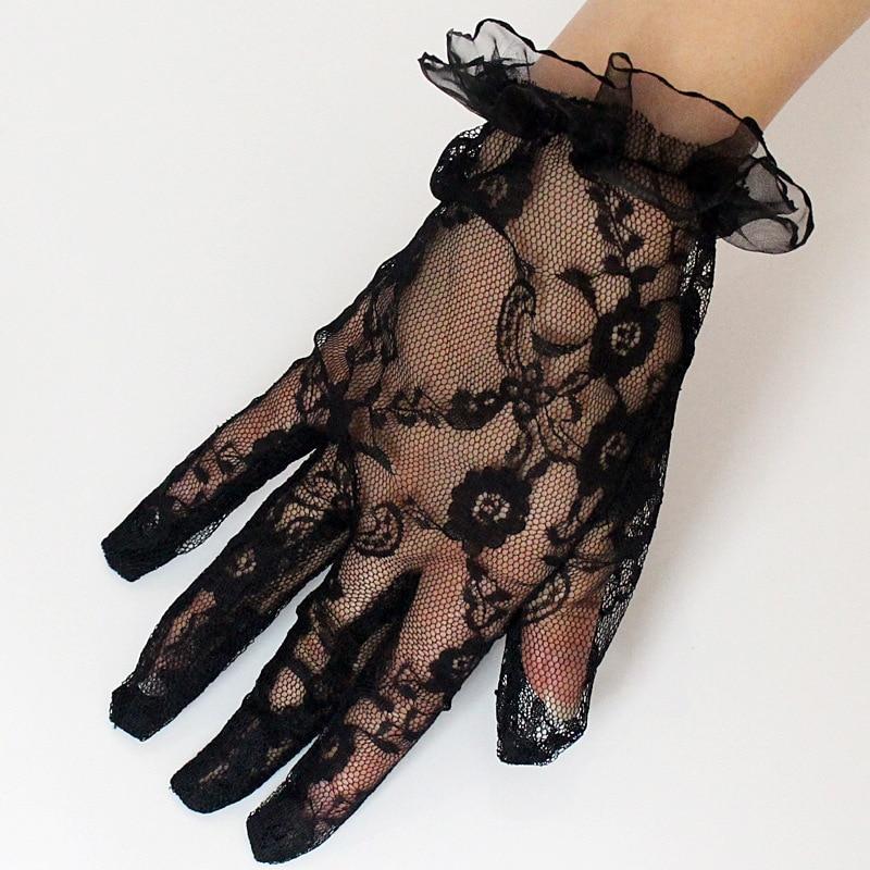 Black Lace Fingerless Wrist Gloves For Costume