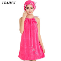 LDAJMW Super Absorbent Towel Bamboo Fiber Towel Sexy Suspenders Bath Skirt Woman Send Dry Hair Cap