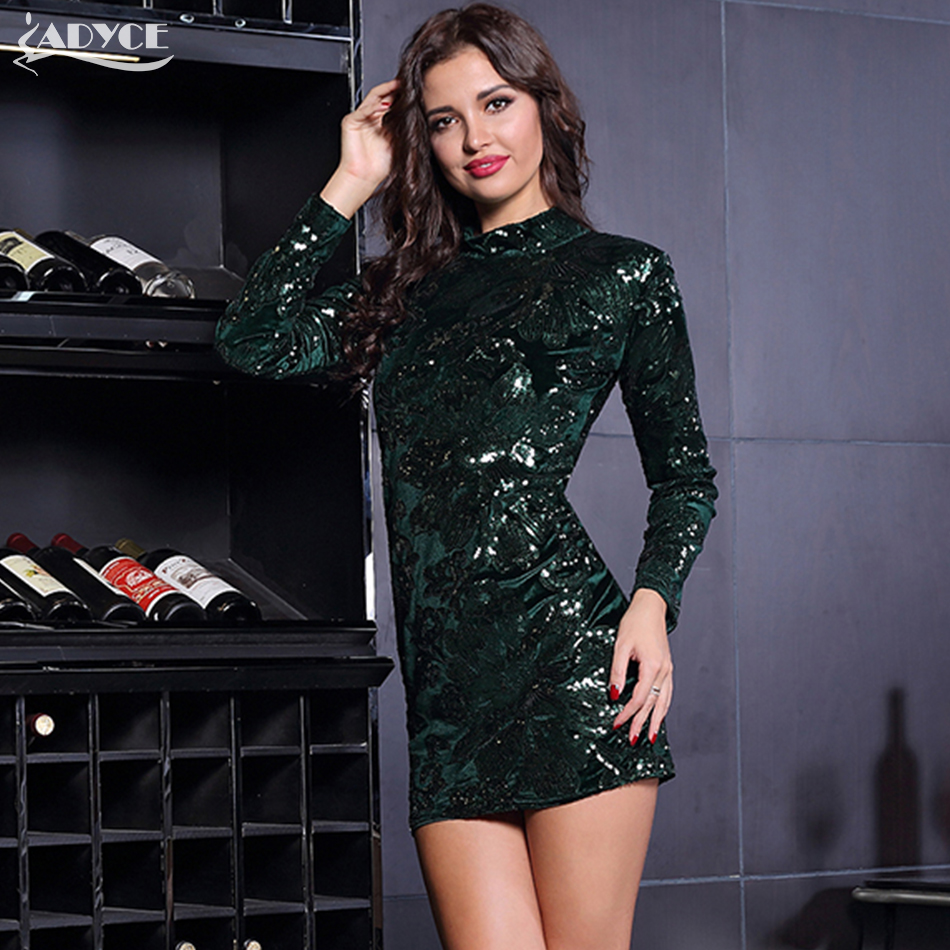 Adyce 2017 Autumn New Arrival Women Sexy Bodycon Dress Luxury Velvet sequined Flower Stand neck Bandage Dresses Casual Vestidos black lace feather dress