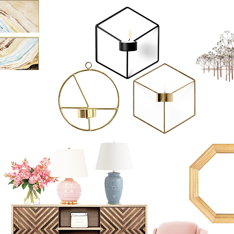 Nordic Style 3D Geometric Candlestick Metal Wall Candle ... on Metal Candle Holders For Wall id=21258