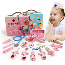 Baby toys Funny play Real Life Cosplay Doctor game Portable Medicine Box Pretend Doctor Play Set Wooden toy for Kid(China)