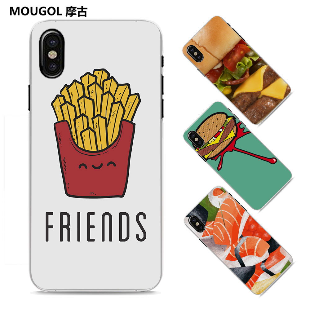 MOUGOL Japanese Sushi vs Hamburger Style Thin clear phone shell case for Apple iPhone X 8 8Plus SE 5 5s 7 7Plus 6 6sPlus