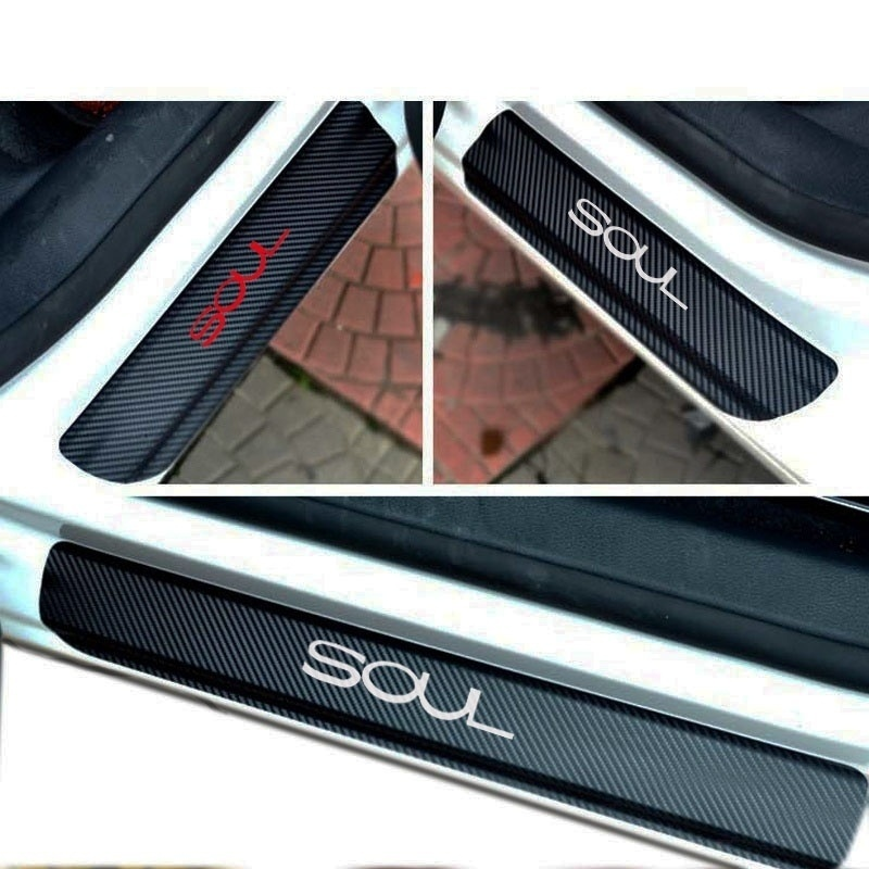 4PCS carbon fiber vinyl sticker Car Door Sill Scuff Plate for KIA SOUL Parts Accessories