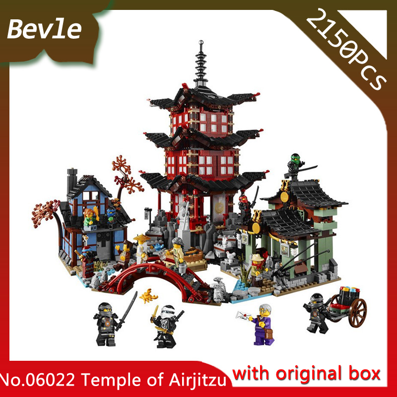 Bevle Store LEPIN 06022 1053Pcs Ninja Series Temple Village Model Building Block For Children Toys 70603 with original box Gift lepin 22001 pirate ship imperial warships model building block briks toys gift 1717pcs compatible legoed 10210