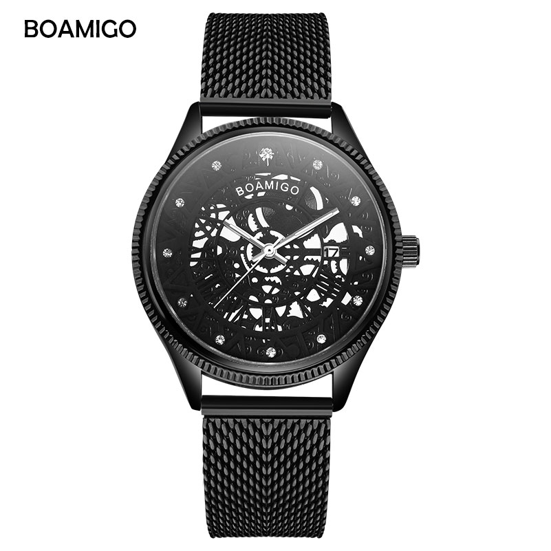 BOAMIGO Fashion Brand Mens Quartz Skeleton Watch Black Milane Mesh Steel Strap Auto Date Male Wristwatch Clock Relogio Masculino
