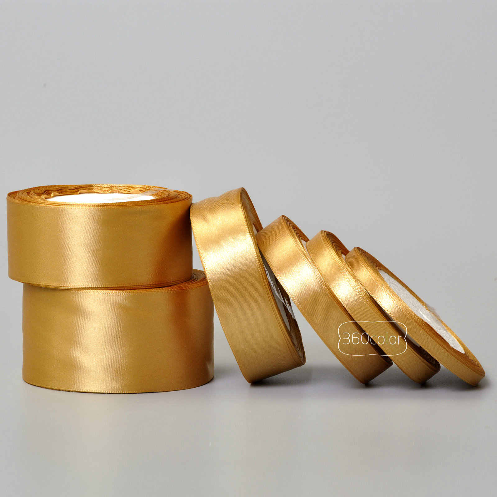 25 Yards Gold Silk Satin Ribbon Gift Wrapping Bow Wedding Party Decoration Christmas New Year Apparel Sewing Fabric Ribbon