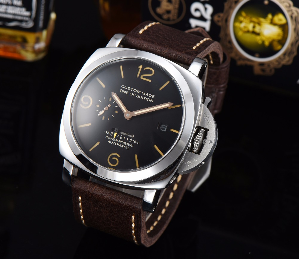 Parnis Watch Power Reserve Movement 47mm Automatic Men's Stainless Steel Case High Quality Leather Strap 719-1