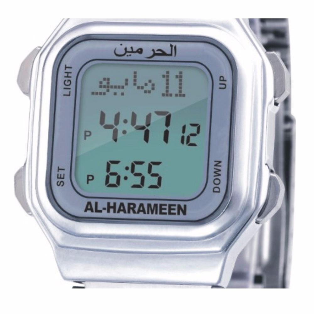 Unisex Muslim Azan Watch Prayer Wriste Watch 6461 Silver High Elegant Waterproof Best Muslim Products 1pc AL Harameen
