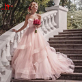 2017 Blush Pink Garden Wedding Dresses with Ribbon Sweetheart Beads Ruffles Skirt Princess Bohemian Bridal Dresses Custom Made