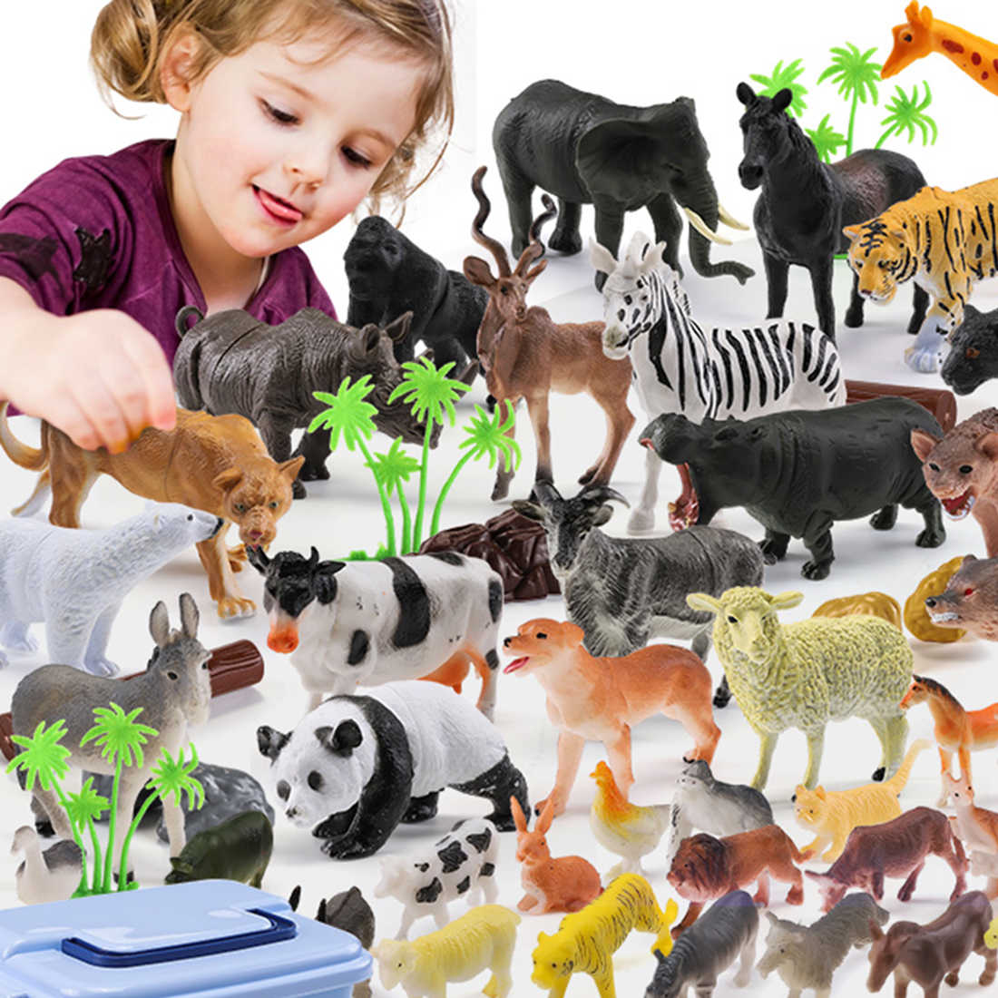 44pcs Genuine Selvagem Selva Zoo Farm Animal Série Jaguar Collectible Modelo Toy Kids Early Learning Brinquedos Cognitivos Presentes- aleatória