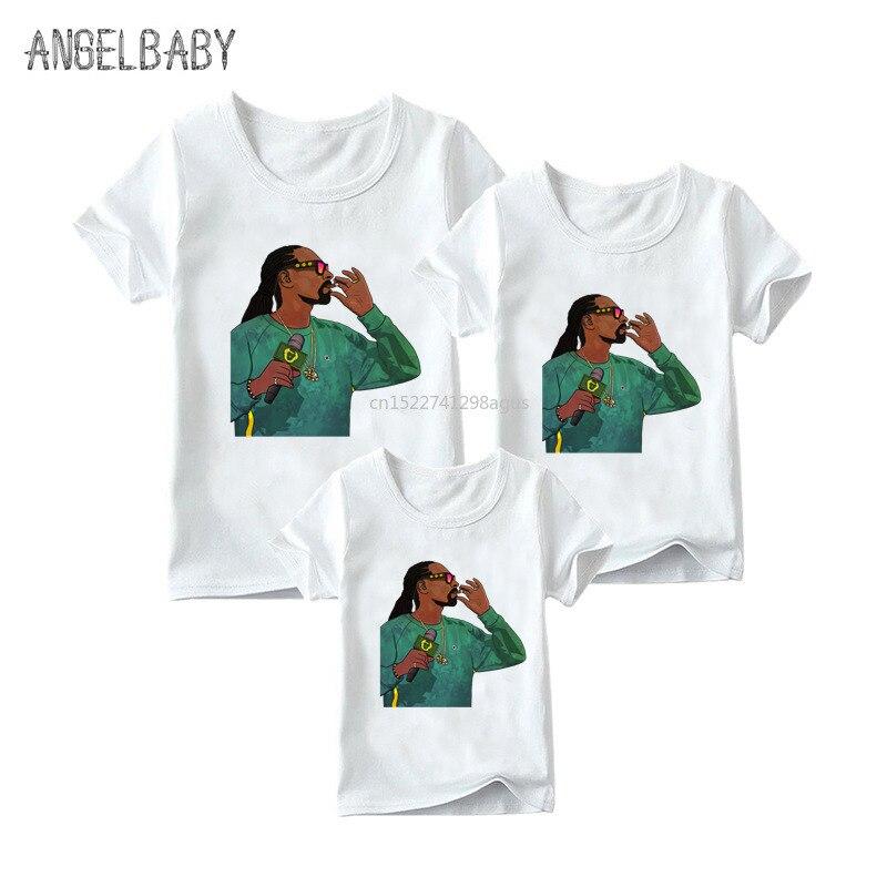 Matching Family Outfits Rapper Snoop Dogge Print Boys Girls Fashion T-shirt Hip Hop Clothes Kids&Woman&Man Funny Tshirt