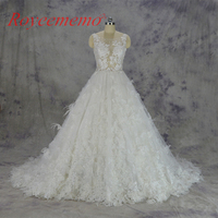 2017 Hot Sale Special Lace Wedding Dress Sexy Transparent Top Bridal Gown Custom Made Ball Gown