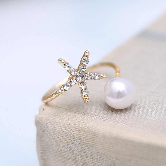 Fashion jewelry starfish imitation pearl rings gold ring women jewelry Open cuff Ring Animal Star Adjustable Crystal Rhinestone