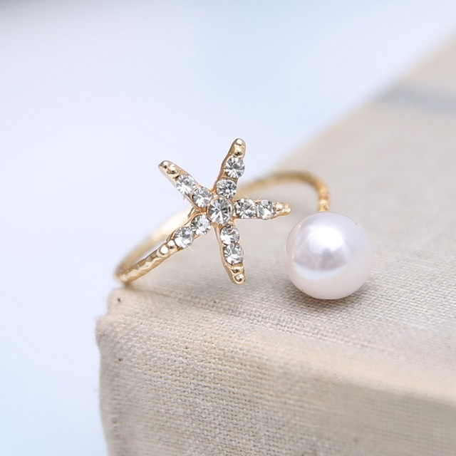 Fashion jewelry starfish imitation pearl rings gold ring women jewelry Open cuff