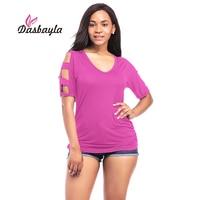 Dasbayla 2017 Femmes D'été à manches courtes T-shirt off épaule tops Sexy dames V-Neck Cut Out T-shirt