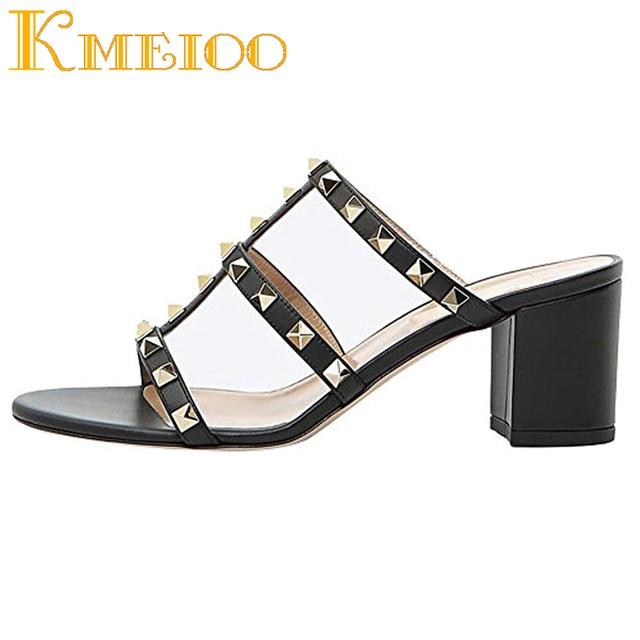 Kmeioo 2018 Fashion Ladies Shoes Rivets Studded Sandals Gladiator Slip On Open Toe Woman Shoes Block Med Heels 5CM