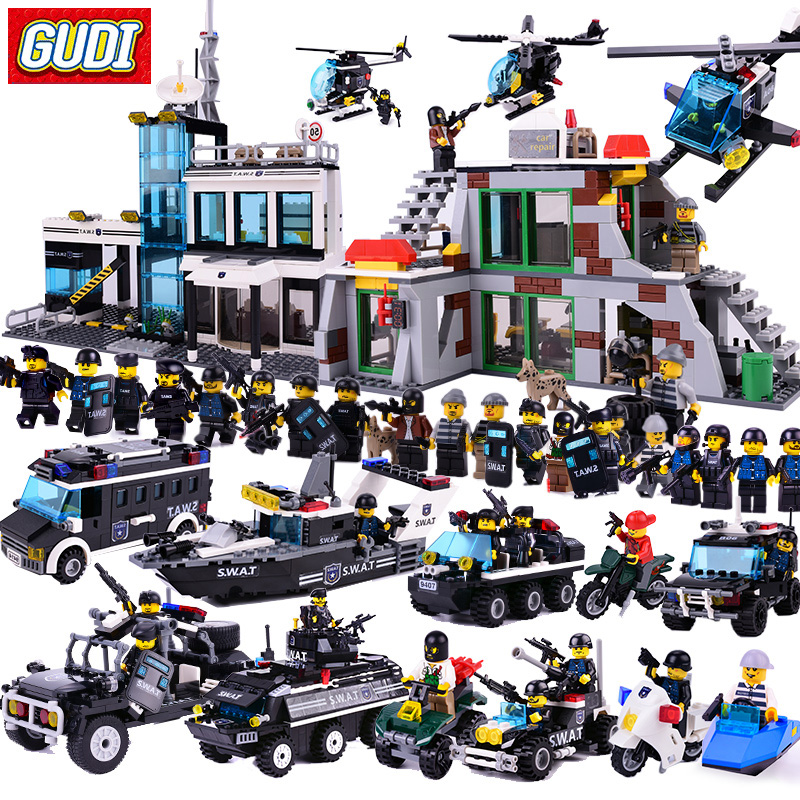 GUDI 9413 Blocks Compatible Legoe City SWAT Raid Building Blocks DIY Bricks Educational Minecrafted Toys For Children new building blocks ninja emmet wyldstyle sheriff gordon zola bad cop robo swat brick toys for children l009 016