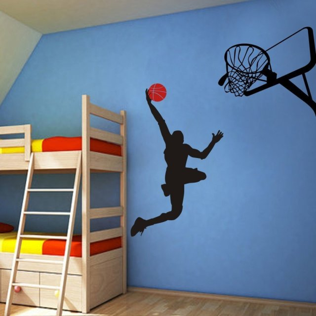 Cool Basketball Player Dunk Ball Michael Jordan   Wall Decal Vinyl Sticker  Kidu0027s Bedroom Decor For