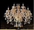 2016 free grátis 15 braços grande lustre lustres 100% k9 de cristal de luxo de ouro grande cognic claro lustre para decoração de casa