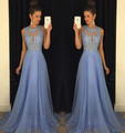 Vestido de Festa 2016 Vestido de Noche Elegante O cuello Apliques Con Cuentas Desfile Vestido de Aline de La Gasa sin mangas sky blue vestido de Noche