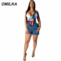 OMILKA Denim Rompers and Jumpsuits Sequin Big Lips Eye Printed 2019 Summer Women Button Pocket Bodycon Jeans Short Playsuits