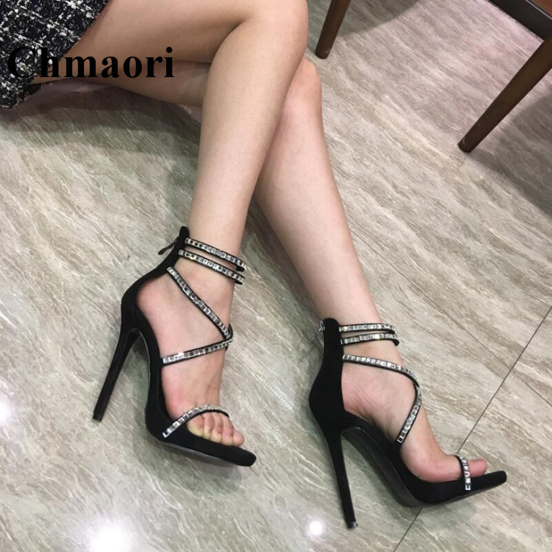 2018 Newest Fashion Cross-tied Crystal Sexy Thin High Heel Super Heel Party Open Toe Summer Women Sandals Two Color Normal Size plus size 35 42 newest women open toe sexy ankle straps sandals fashion high heels summer ladies thin heel pumps smynlk a0019