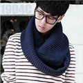2016 Winter Fashion Men Scarf Knitted Solid Unisex Circle Scarves Warm Scarf Women Knitted Wool Collar Neck Ring Scarf