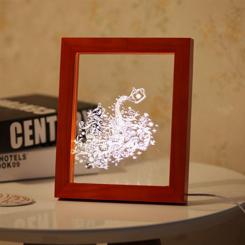 3D Acrylic Photo Frame Night Light USB Port Wood LED Desk Lamp Bird Patterns Vision Atmosphere Home Decorative