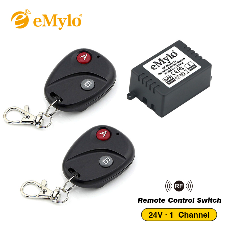 eMylo RF DC 24V Wireless Remote Control Light Switch Transmitter 1 Channel Relay 433Mhz relay remote controller toggle switch цена