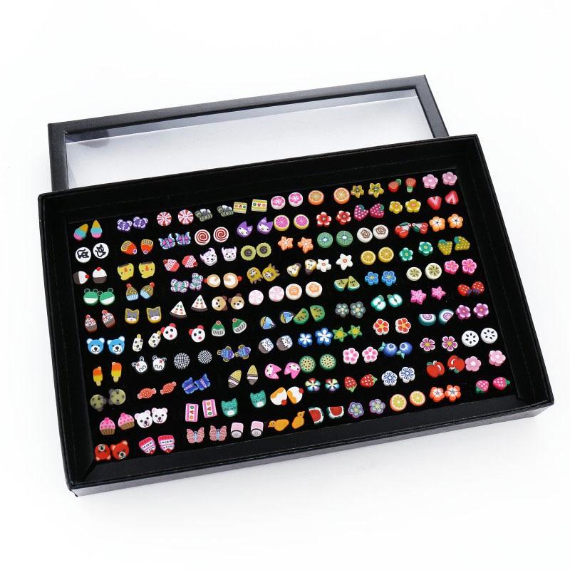 100 Pairs/Set Random Plant Fruit Animal Stud Earrings For Women Girls Kids Jewelry Cute Bear Polymer Clay Earring Set Mix Gifts