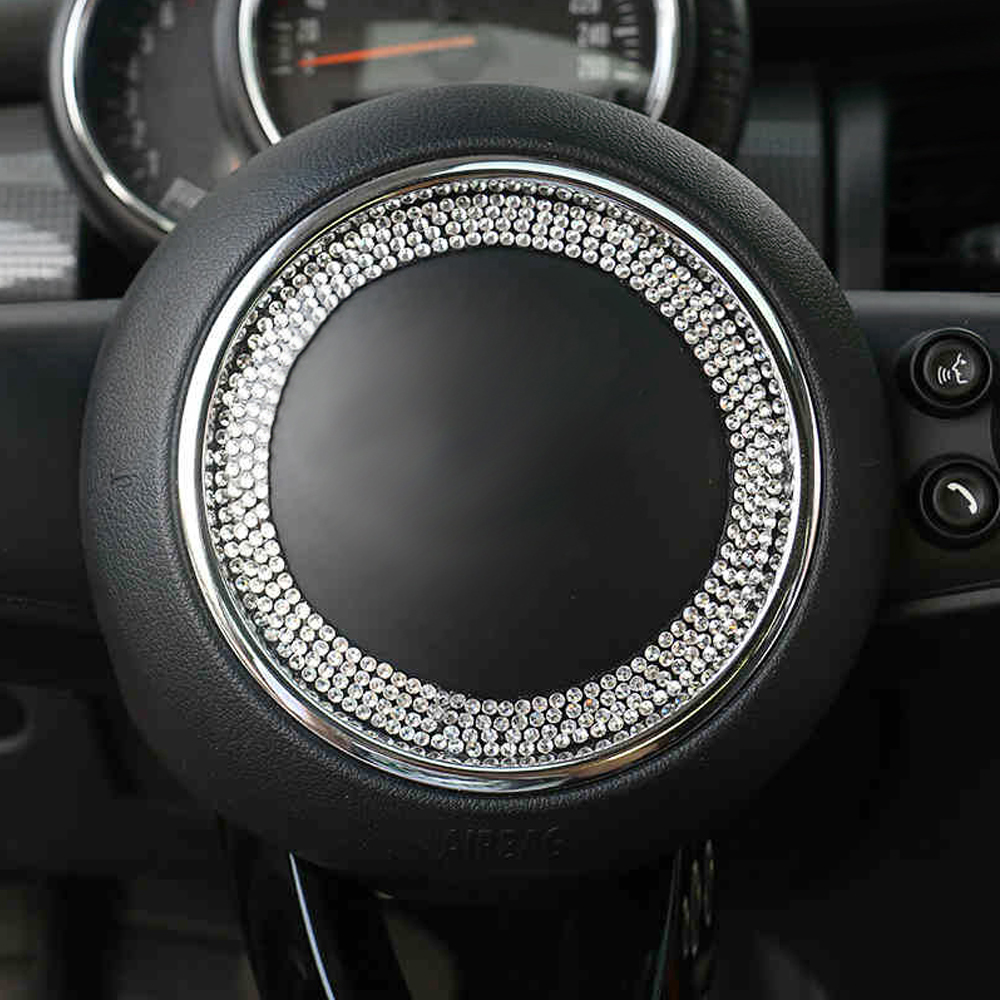 Steering Wheel Center Crystal Sticker Decor Cover For Mini Cooper JCW One  S F54 F56 F55 F60 R55 R56 R57 R58 R60 R61 Car Styling