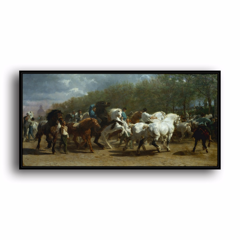 Horse Race Field People Tree Natural Scenery. HD Canvas Print Home decoration Living Room bedroom Wall pictures Art painting