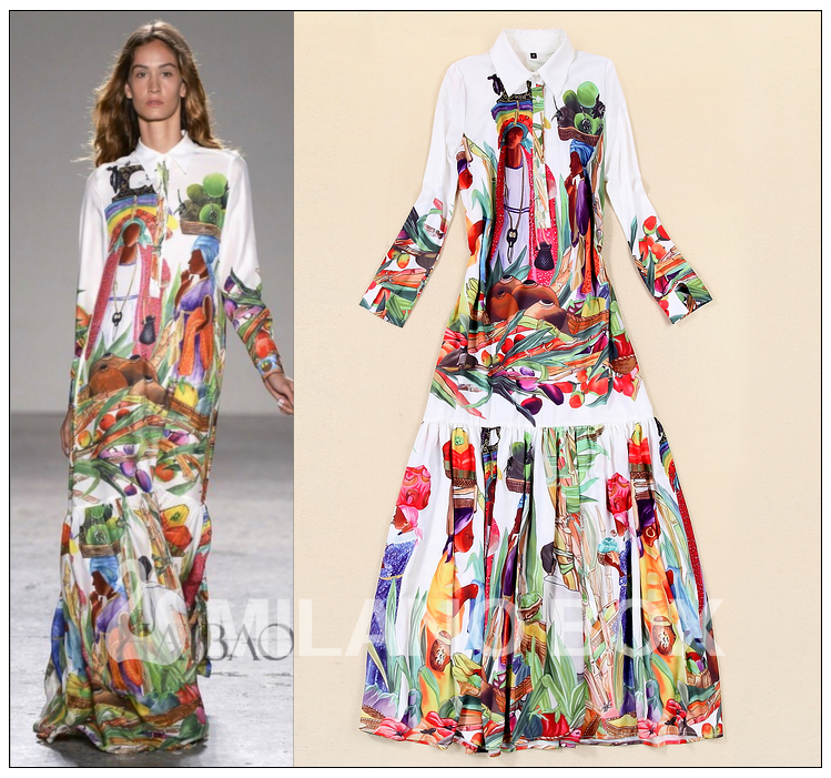 8b473f46e9 Brand Fashion Runway Maxi Long Dress 2015 Fashion Trend Women s Long Sleeve  Vintage Character Print Mopping Floor Length Dress