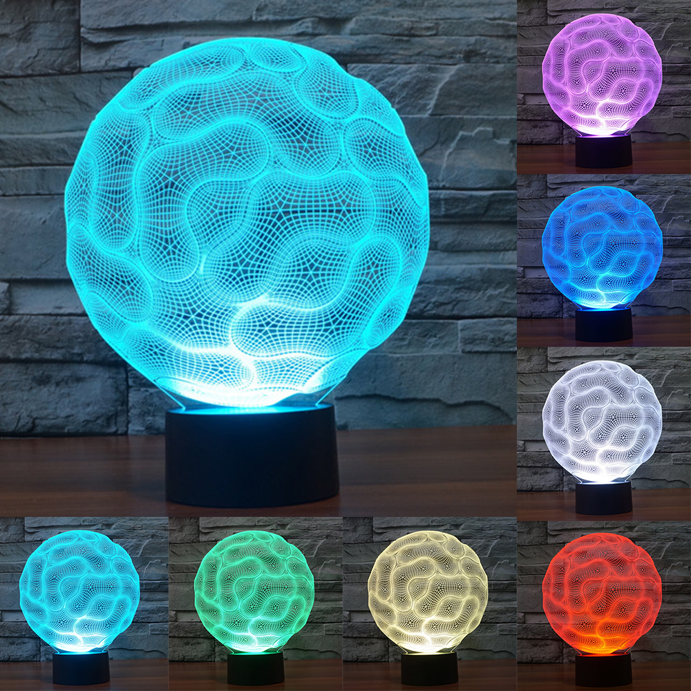 7 color changing Brain Lamp 3D LED Night Lights touch Switch Light USB Charger Table Lamps