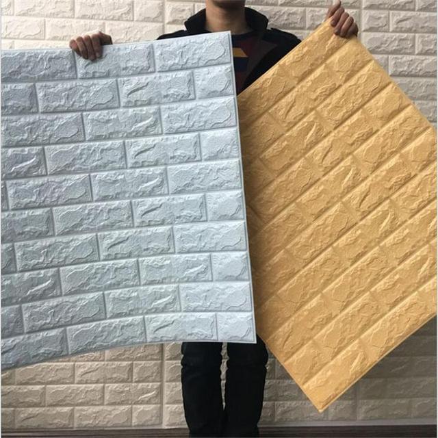 7077cm pe foam decorative 3d stone brick wall stickers for living room home decor