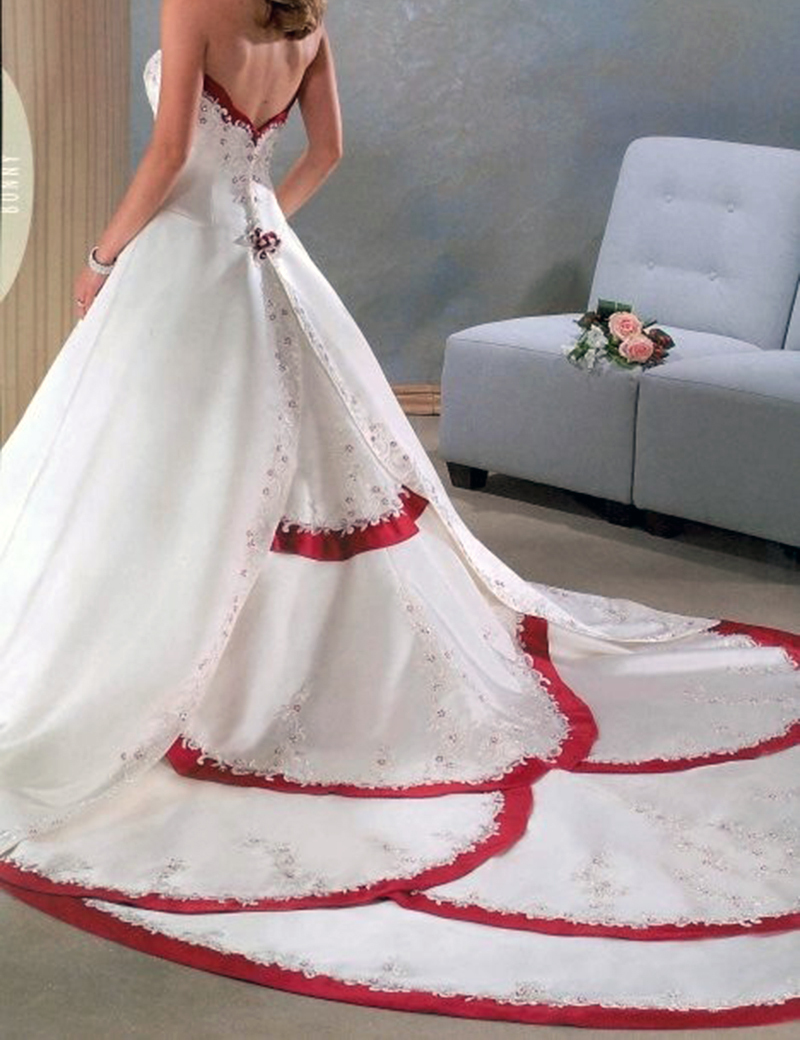 Red and White Wedding Dress Sweetheart Satin Ball Gown