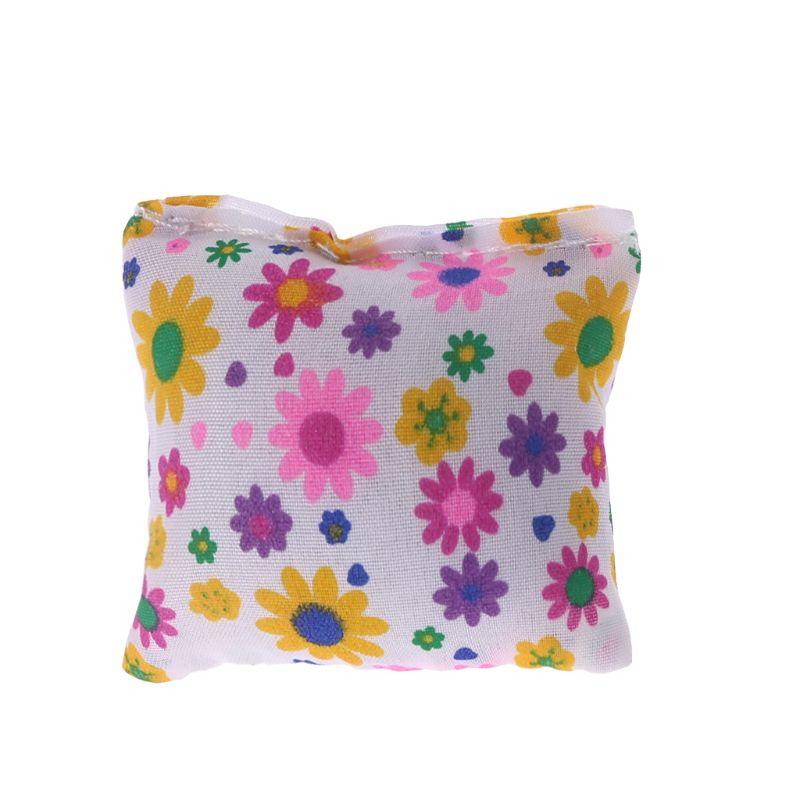 Doll Bolster Pillow Floral Flower Printed Stuffed Sponge Soft Simulation Sofa Cushion Square Miniature Furniture Dollhouse Toys
