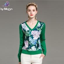 High Quality Runway Fashion Designer Sweater Women's Elegant Hydrangea Flower Pr